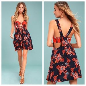 Free People Orange & Navy Floral Dress